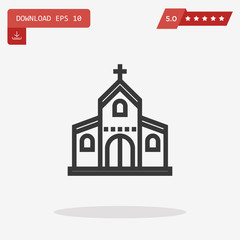 Outline Church Icon isolated on grey background. Line Religion s