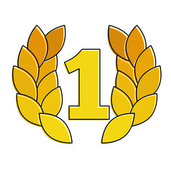 number one with wreath trophy award vector illustration design