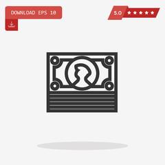 Outline Cash icon isolated on grey background. Line Money symbol