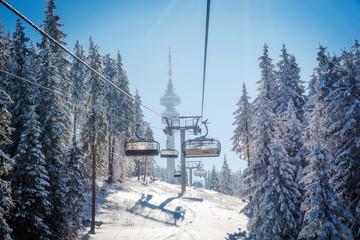 Sunny day in Pamporovo - Bulgarin winter resort.