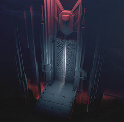 3D rendering of a mysterious dungeon with an opening gate