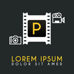 P Letter Logo Design with piece of Film