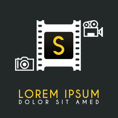 S Letter Logo Design with piece of Film