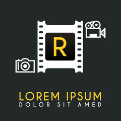R Letter Logo Design with piece of Film