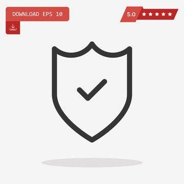 Outline shield with check mark icon isolated on grey background.