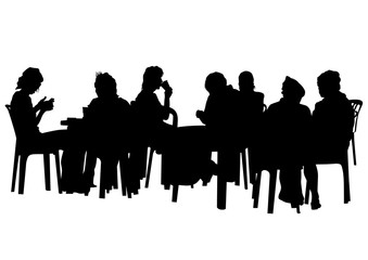 People in urban cafe on white background