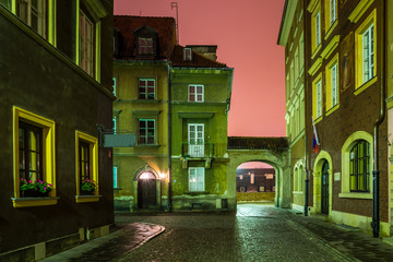 Night view at Krzywe Kolo street on old town in Warsaw, Poland