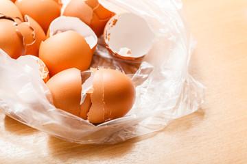 Many empty cracked eggshells