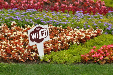 Flower bed with sign Free Wi-Fi