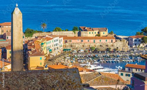 Wall mural Old town and harbor Portoferraio, Elba island, Italy.