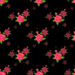 Seamless pattern with red roses on black background.
