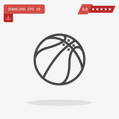 Basketball Ball Icon in trendy flat style isolated on grey backg