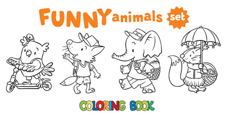 Coloring book set of funny baby animals