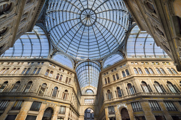 Naples, Italy, August 19, 2013: Shopping gallery Galleria Umberto in Naples, Italy. Naples historic city center is the largest in Europe, and is listed by UNESCO as a World Heritage Site.