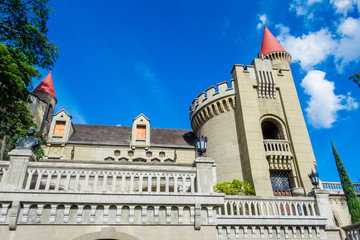 Outdoor view of beautiful view of gothic medieval Castle Museum in Medellin, Colombia, South America