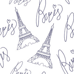 paris eiffel tower pattern with lettering