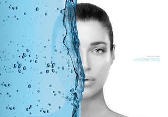 Face portrait of a beautiful woman. Moisturizing skin care concept