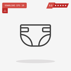 Diaper Icon in trendy flat style isolated on grey background. Na