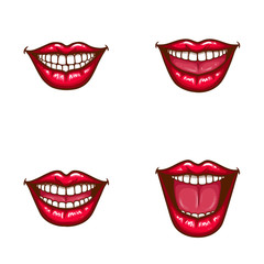Set of vector sexy female lips in red glossy lipstick with white teeth, perfect smile, open, with tongue. Glamour mouths isolated on background. Pop art style illustration. Clipart for dental design
