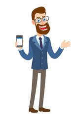 Hipster Businessman holding mobile phone and gesticulating