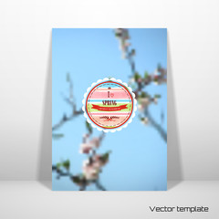 Vector card template. Abstract spring background. Flowering tree. Beautiful inscription in retro style - I love spring. Crown, heart, ribbon and branch. Watercolor frame with stripes.