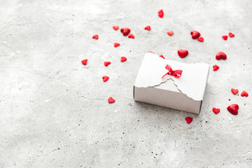 Gift box. The concept of the day of St. Valentine's, weddings, birthday, New Year, Christmas and other holidays