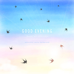 Abstract vector background. Handmade watercolor. White cloud, sun, sky and swallows. Place for your text.