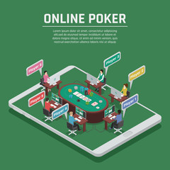 Online Poker Isometric Composition Poster