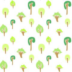 Seamless tree pattern, nature pattern, vector illustration