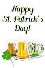 Happy St. Patrick's Day - card, illustration - beer
