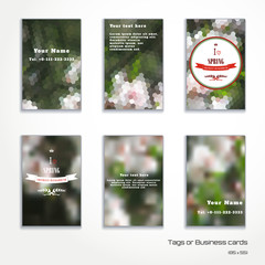 Set of six vertical business cards. Abstract vector geometric spring background. Flowering tree. Beautiful inscription in retro style - I love spring. Crown, heart, ribbon and branch