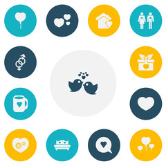Set of 13 editable amour icons. Includes symbols such as gift, valentine balloons, birds and more. Can be used for web, mobile, UI and infographic design.