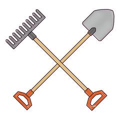gardening shovel with rake vector illustration design