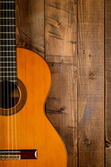 guitar in wood background