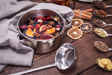 mulled wine in a pot with handles and ingredients