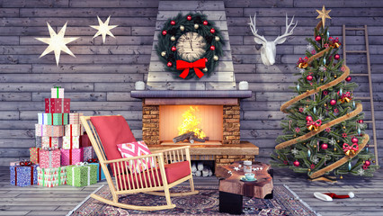 Interior design of living room with Christmas decoration 3d Render