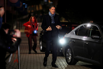 Leader of People's Party of Catalonia Albiol arrives to take part in a televised debate among Catalonian political parties in Barcelona