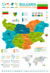 Bulgaria - infographic map and flag - Detailed Vector Illustration