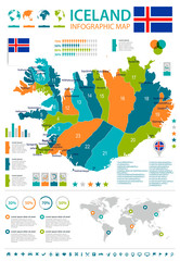 Iceland - infographic map and flag - Detailed Vector Illustration