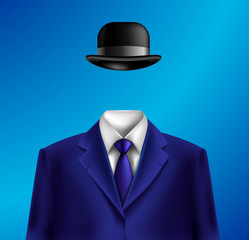 White collar suit and bowler hat