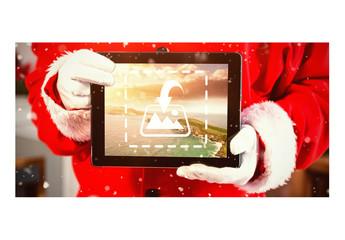 Santa Holding Tablet Mockup