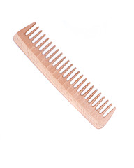 Anti static wooden comb isolated on white background