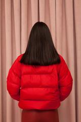 back portrait of a young brunette