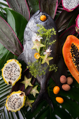 Tropical fruits and amazon fish on tropical leaves