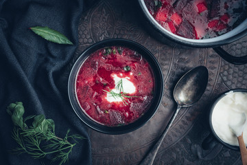 Food: Borschtsch, Red beet soup with sour cream and dill