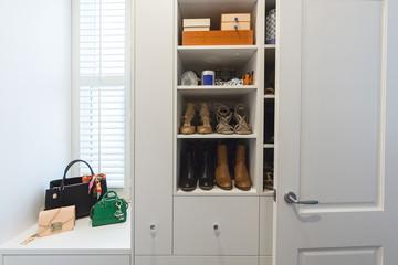 Shelving detail in a luxury walk in wardrobe