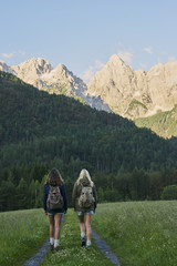 Travel girl friends wild beautiful landscape wanderlust adventur