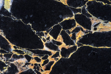 detail of cracking of texture on golden black marble pattern