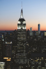New York City skyline at twilight