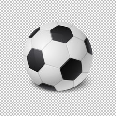Realistic vector Soccer ball icon closeup isolated on transparency grid background. Design template of Sports Equipment for app, web etc. Clipart, mockup etc